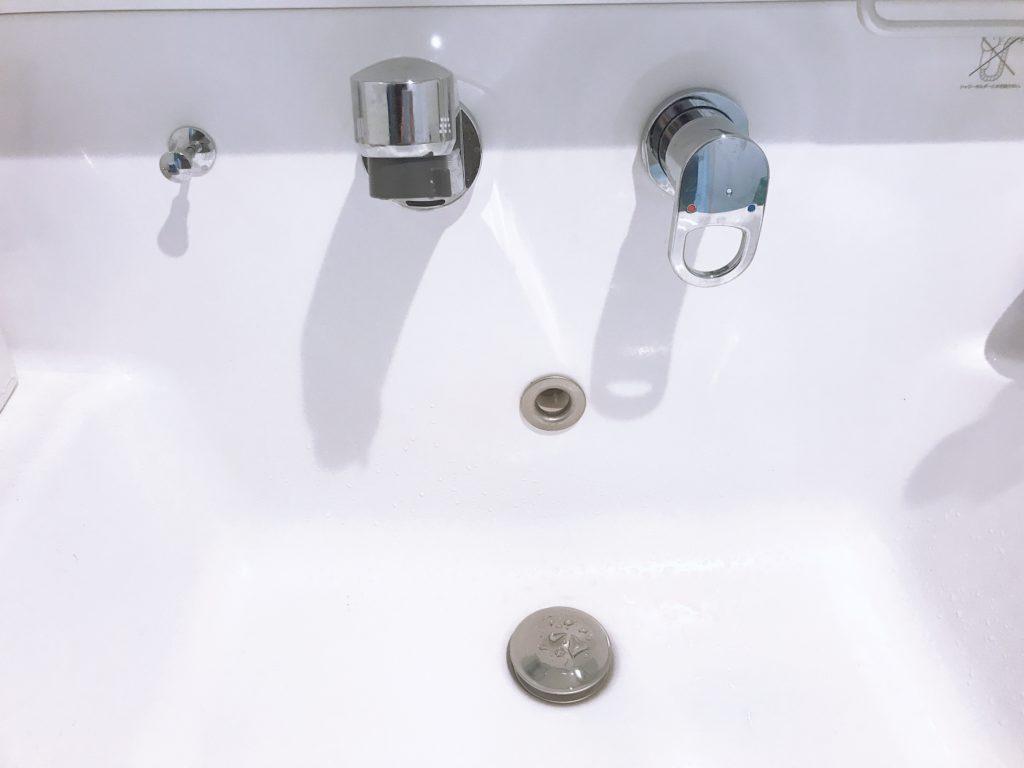 磐田市で洗面の排水つまり修理を行いました。